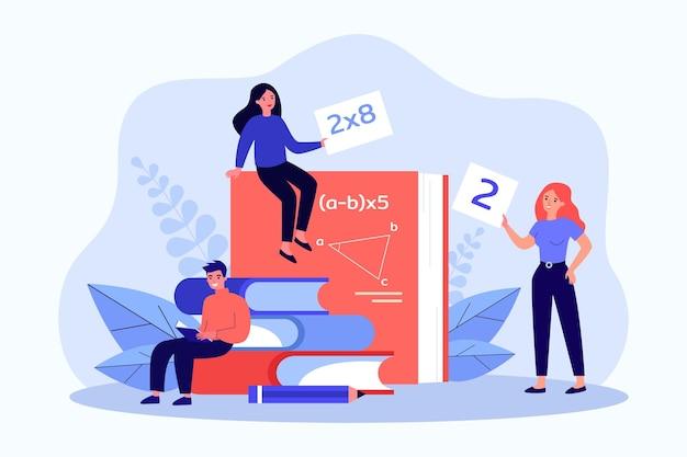 Młodzi ludzie studiujący matematykę płaski wektor ilustracja. małe kobiety i mężczyzna siedzący na gigantycznych książkach, podręcznikach do algebry, geometrii, analizy matematycznej. matematyka, nauka, koncepcja edukacji