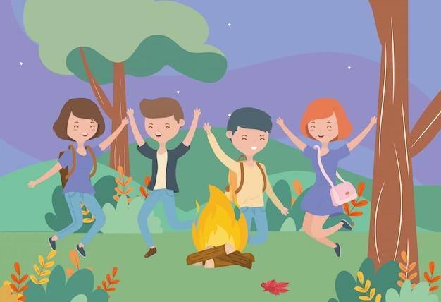Młodzi ludzie szczęśliwy ognisko natura krajobraz