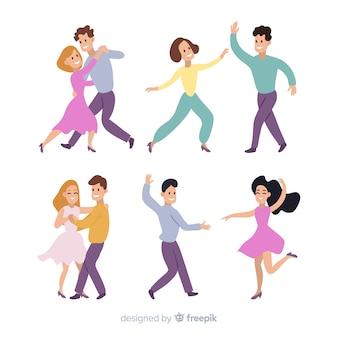 Młodzi ludzie tańczą. lekcje tańca. przyjęcie