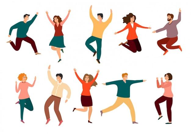 Młodzi ludzie tańczą lub tancerze płci męskiej i żeńskiej na białym tle. młodych mężczyzn i kobiet korzystających z tańca. potańcówka.