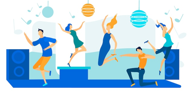 Młodzi ludzie tańczą na dyskotece. happy leisure