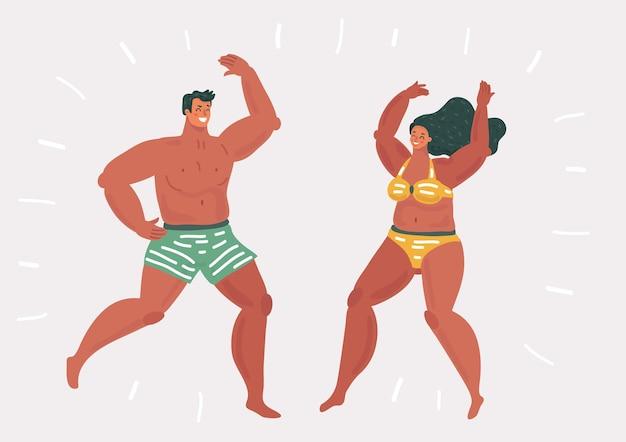 Młodzi Ludzie Tańczą Na Plaży Premium Wektorów