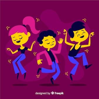 Młodzi ludzie tańczą. projektowanie postaci