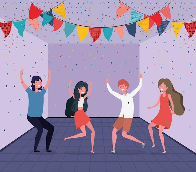 Młodzi ludzie tańczą w pokoju