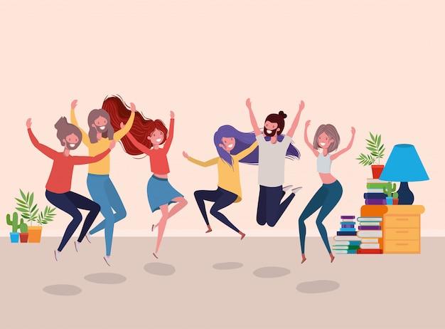 Młodzi ludzie tańczą w salonie