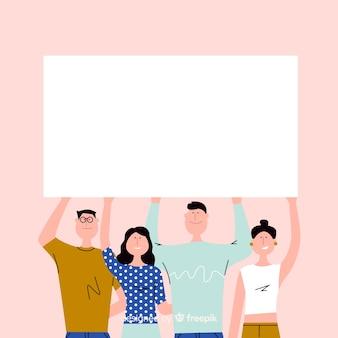 Młodzi ludzie trzyma pustego sztandar