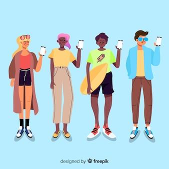 Młodzi ludzie trzyma smartphones ilustracyjnych