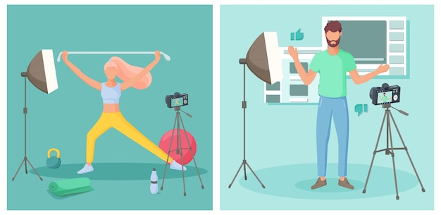 Młodzi ludzie tworzący wideoblogi. koncepcja vloga. ilustracja.