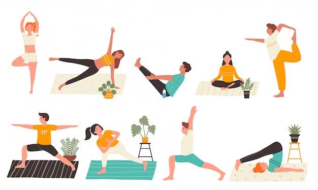 Młodzi ludzie w joga pozach ustawiają płaską ilustrację odizolowywającą na białym tle. jogin mężczyzna i kobieta trenujący w domu wykonujący główne ćwiczenia jogi. osobisty trener, klasa treningu, zdrowy styl życia