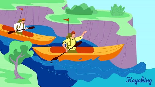 Młodzi ludzie w kajakach wiosłują w dół rzeki w słoneczny dzień