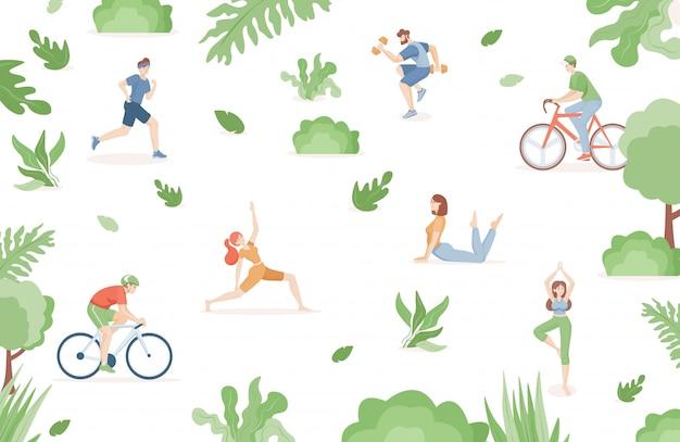 Młodzi ludzie w strojach sportowych uprawiają sport w płaskiej ilustracji parku.