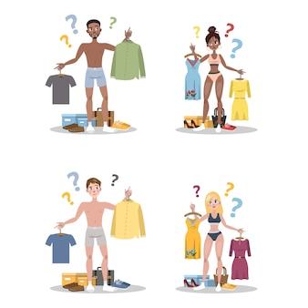 Młodzi ludzie wybierają między dwoma zestawami ubrań. mężczyzna i kobieta mają wątpliwości, zastanawiając się, w co się dzisiaj ubrać. ilustracja