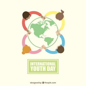 Młodzi ludzie z całego świata tle
