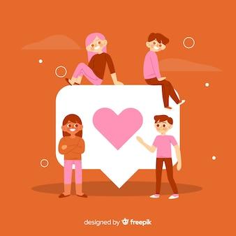 Młodzi ludzie z czerwonym sercem symbol