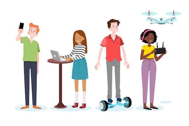 Młodzi ludzie z hoverboardem i dronem