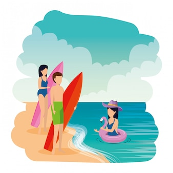 Młodzi ludzie z kostiumem kąpielowym i deską surfingową na plaży