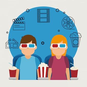 Młodzi ludzie z okularami 3d i ikony kina