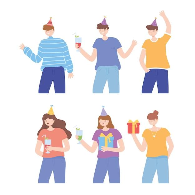 Młodzi ludzie z prezentami kapelusze i dinks clebrating party wektor ilustracja