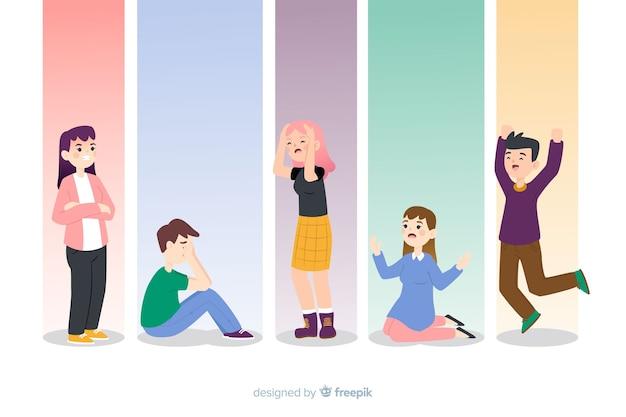 Młodzi ludzie z różnymi emocjami