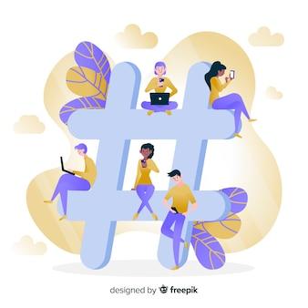 Młodzi ludzie z symbolem hashtag