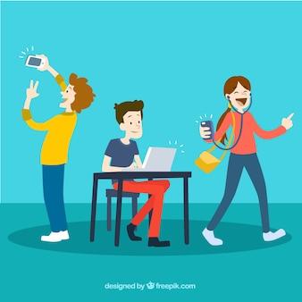 Młodzi ludzie z wykorzystaniem technologii