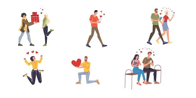 Młodzi ludzie zakochani zestaw płaskich ilustracji na walentynki