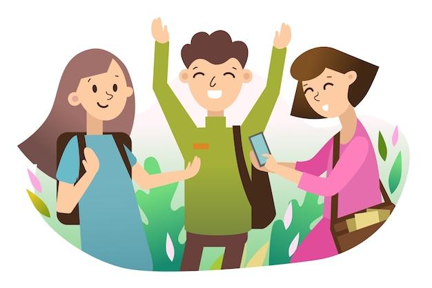Młodzi ludzie ze smartfonem