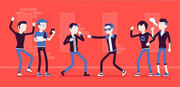 Młodzi mężczyźni biorą udział w brutalnej walce ulicznej