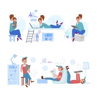 Młodzi mężczyźni i kobiety spędzają cały czas w internecie, studiując, czytając wiadomości, grając, poddając się kwarantannie w izolacji.