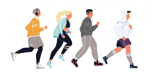 Młodzi mężczyźni, kobiety, dziewczęta, chłopcy, studenci, nastolatki w biegającej po sobie odzieży sportowej. sportowcy, sportowcy, biegacze poruszają się w rzędzie. maraton, konkurencja, przez cały kraj wektorowa ilustracja na bielu.