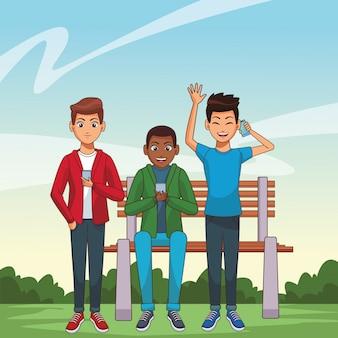 Młodzi mężczyźni kreskówka