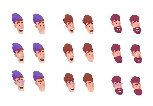 Młodzi mężczyźni mają różne emocje - szczęście, strach zaskoczony głową w kapeluszu, głową z brodą i twarzą młodego mężczyzny. zestaw twarzy męskiego awatara