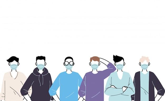 Młodzi mężczyźni noszący maskę na twarz, aby zapobiec wirusowi
