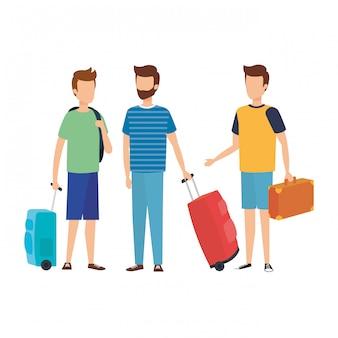 Młodzi mężczyźni podróżują z walizkami