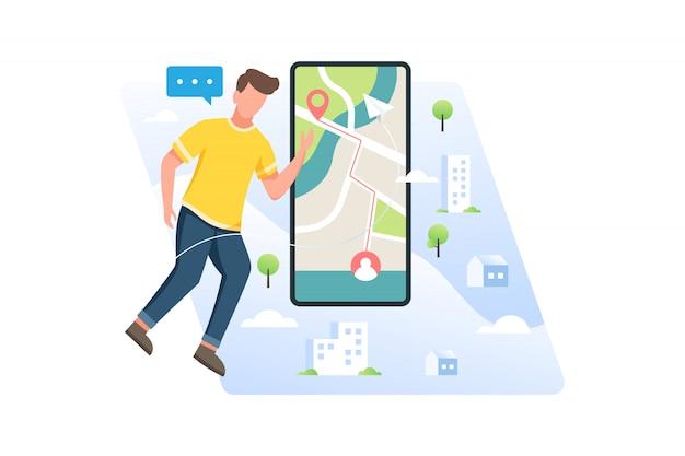 Młodzi mężczyźni szukający lokalizacji miejsca lub pozycji przyjaciela w aplikacji mobilnej