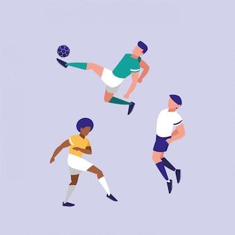 Młodzi mężczyźni uprawiania piłki nożnej na białym tle ikona
