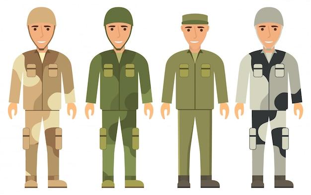 Młodzi mężczyźni w mundurze wojskowym. żołnierze ubierają mundur kamuflażowy na pustynię lub zimę. odzież ochronna, kask, czapka, kurtka, spodnie. buty na ramiona.