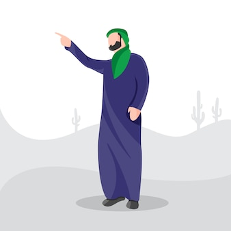 Młodzi muzułmańscy mężczyźni ogląda pustynną płaską charakter ilustrację