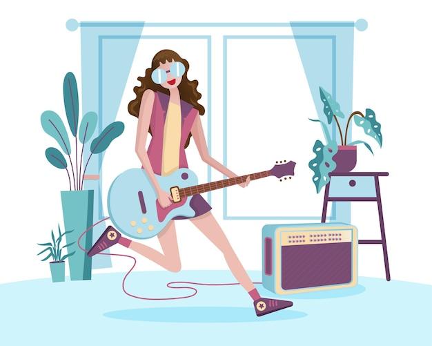 Młodzi muzycy radośnie grają na gitarze na domowych imprezach. ilustracja w stylu płaskiej