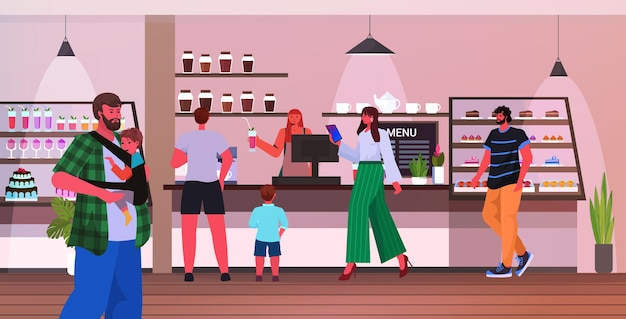 Młodzi ojcowie spędzający czas z dziećmi w kawiarni ojcostwo koncepcja rodzicielstwa nowoczesne wnętrze kawiarni poziomej