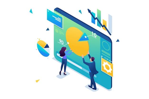 Młodzi przedsiębiorcy pracują z wykresem na tablecie. analityka danych. izometryczny 3d. koncepcja projektowania stron internetowych.