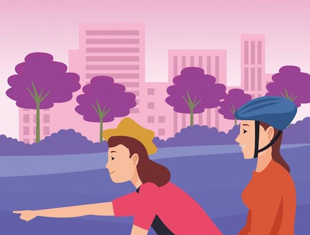 Młodzi przyjaciele, jazda na rowerze i skuter