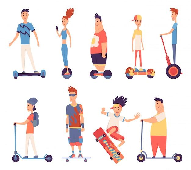 Młodzi przystojni ludzie jadący elektrycznym, nowoczesnym transportem zewnętrznym, stojący poza. ludzie jadący elektrycznie. zaprojektowanie do wynajęcia usługi szybkiej jazdy ekologicznej. ilustracja w stylu płaski