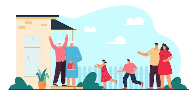 Młodzi rodzice przyprowadzający dzieci do dziadków. płaska ilustracja wektorowa