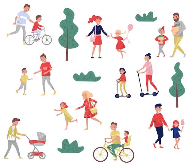 Młodzi rodzice spędzają czas ze swoimi dziećmi. zajęcia na świeżym powietrzu. rodzinny dzień. szczęśliwe dzieciństwo. zestaw