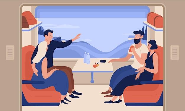 Młodzi uśmiechnięci mężczyźni i kobiety podróżujący pociągiem. wesoły ludzie siedzący w samochodzie osobowym i rozmawiający ze sobą. miłej podróży koleją. kolorowa ilustracja w stylu cartoon płaski