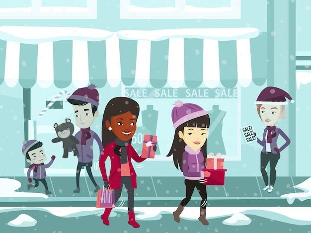Młodzi wielorasowi ludzie podczas zakupów