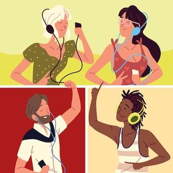 Młodzież korzystająca ze słuchawek