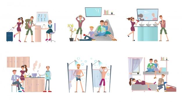 Młodzież mieszkająca w hostelu. mężczyźni i kobiety w tanim hotelu. zestaw ilustracji, na białym tle.