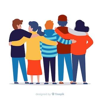 Młodzież przytulanie razem tło
